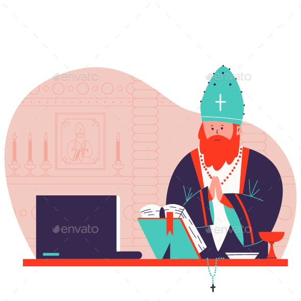 Pastor Preaching Online Vector Cartoon Illustration