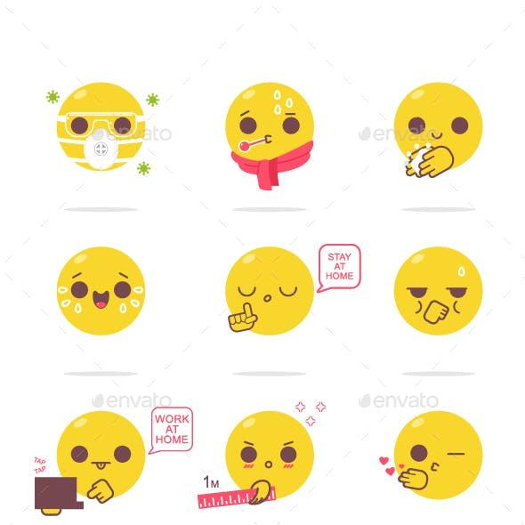 Virus Emotions Vector Cartoon Set