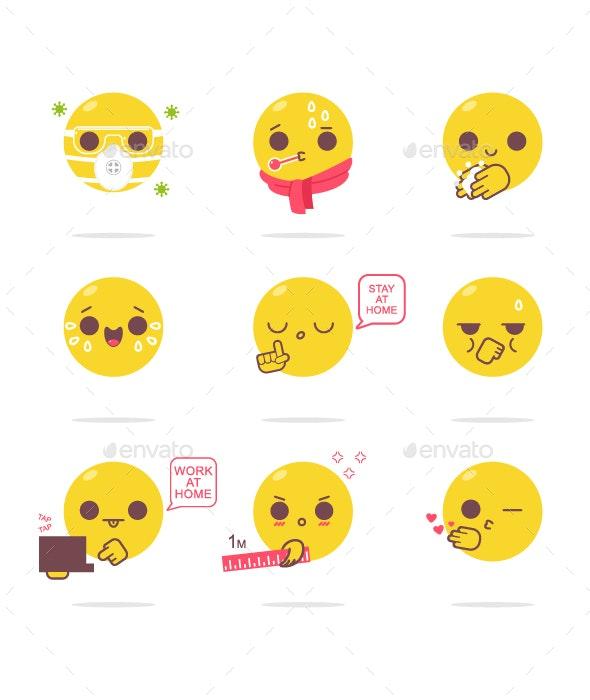 Virus Emotions Vector Cartoon Set - Web Elements Vectors