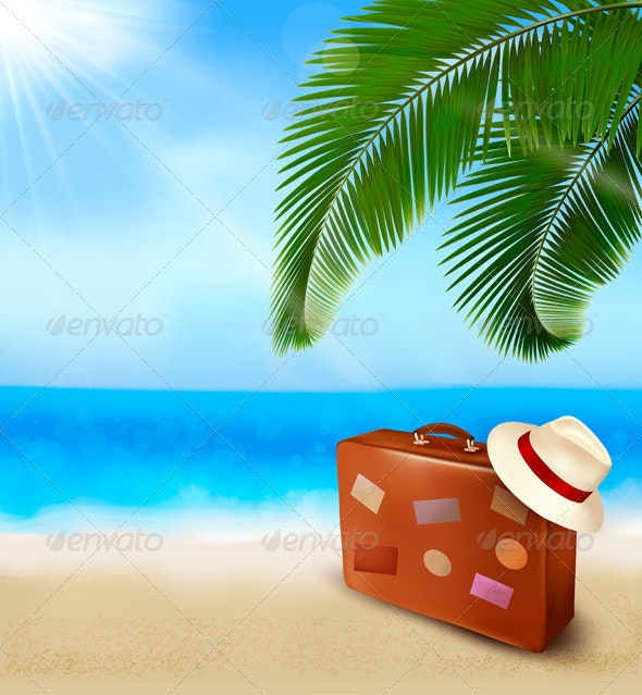 Seaside view with palm leaves and travel suitcase  - Travel Conceptual