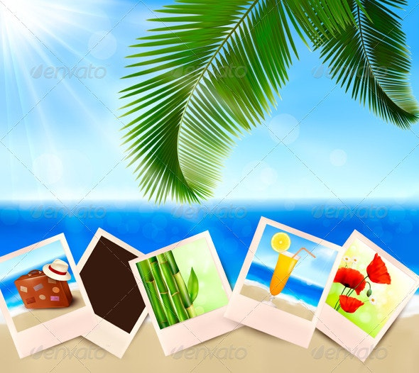 Photos from holidays on a seaside. Summer holidays - Travel Conceptual