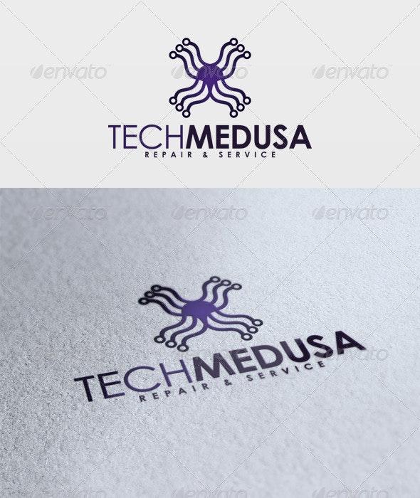 Tech Medusa Logo - Vector Abstract