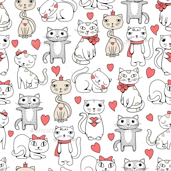 Cats Seamless - Backgrounds Decorative