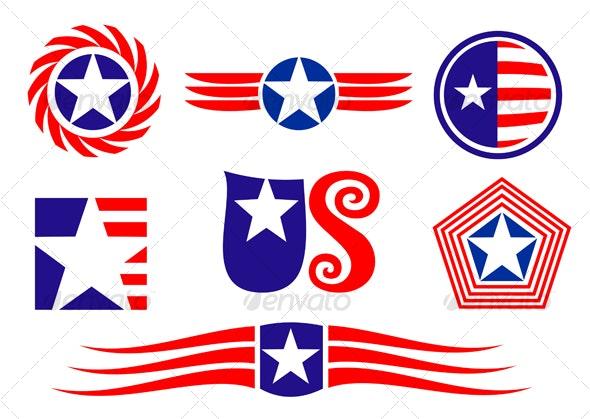 American patriotic symbols - Decorative Vectors