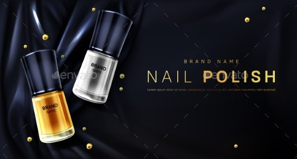Nail Polish Bottles Gold and Silver Palette - Health/Medicine Conceptual