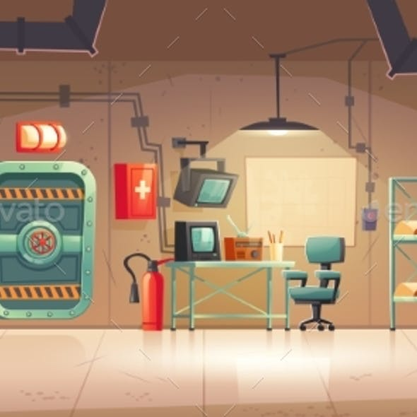 Underground Bunker Empty Bomb Shelter Control Room