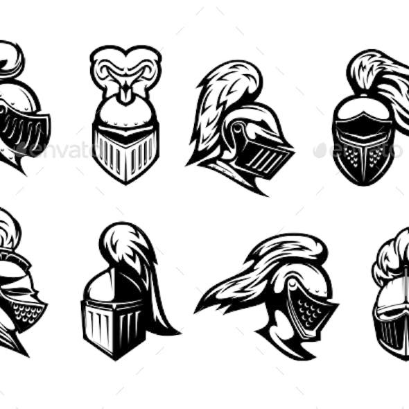Knight Warrior Head in Armor Helmet