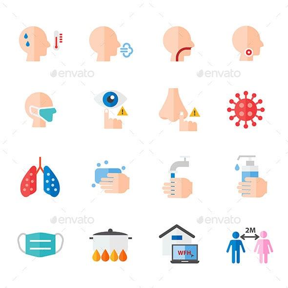 Corona Virus Covid-19 Virus Color Icons Vector - Icons