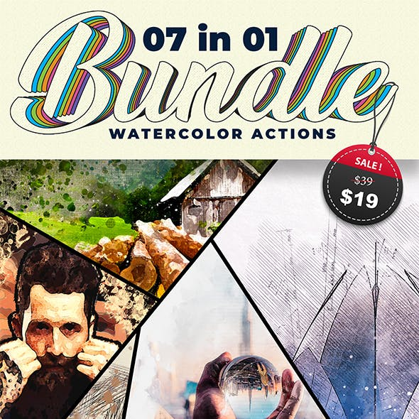 7 Watercolor Photoshop Actions Bundle