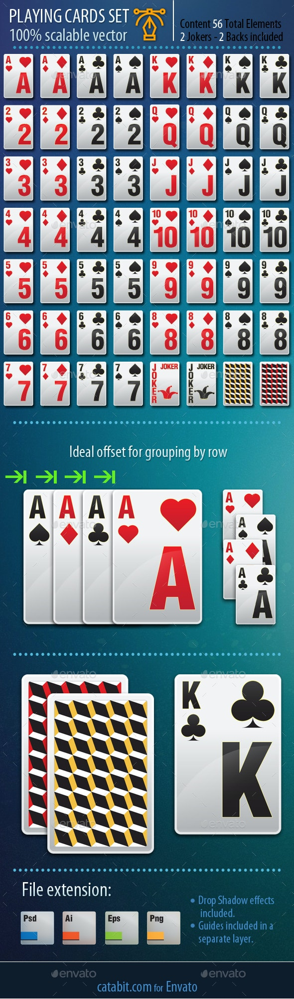 Vector Playing Cards Set - Game Kits Game Assets