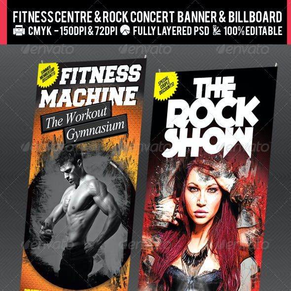 Rock Concert & Fitness Club Billboard+Banner PSD