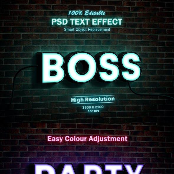 Neon Light  Sign 3D Mock-up PSD Text Effect