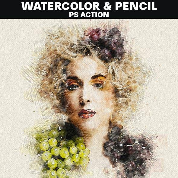 Watercolor & Pencil Photoshop Action