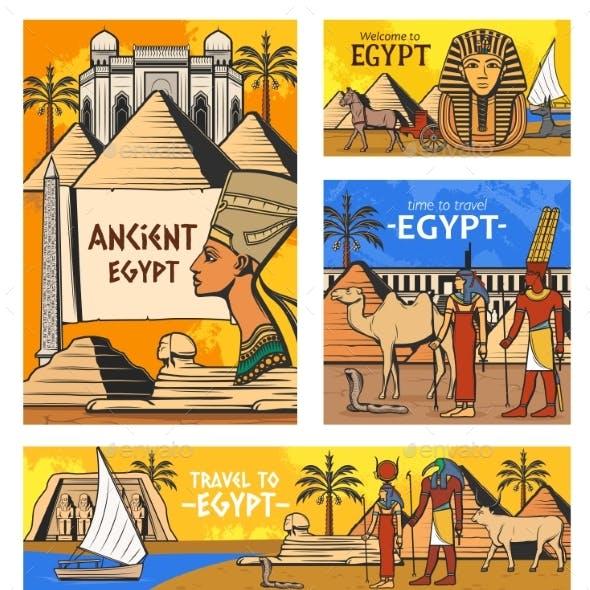 Ancient Egyptian Gods and Pyramids Egypt Travel