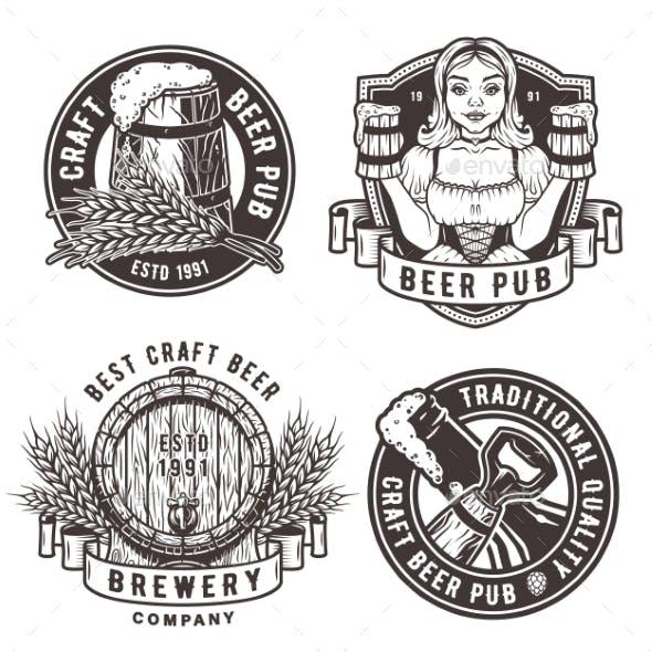 Set Beer Emblem for Pub and Bar