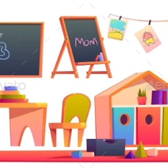 Room Interior in Montessori Kindergarten