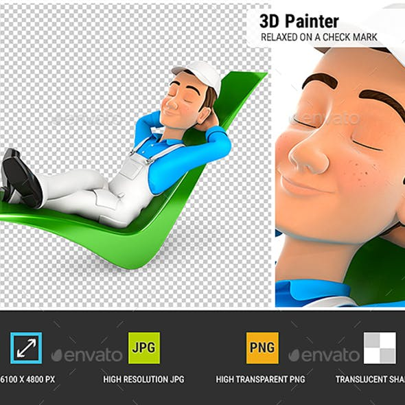 3D Painter Relaxed on a Check Mark