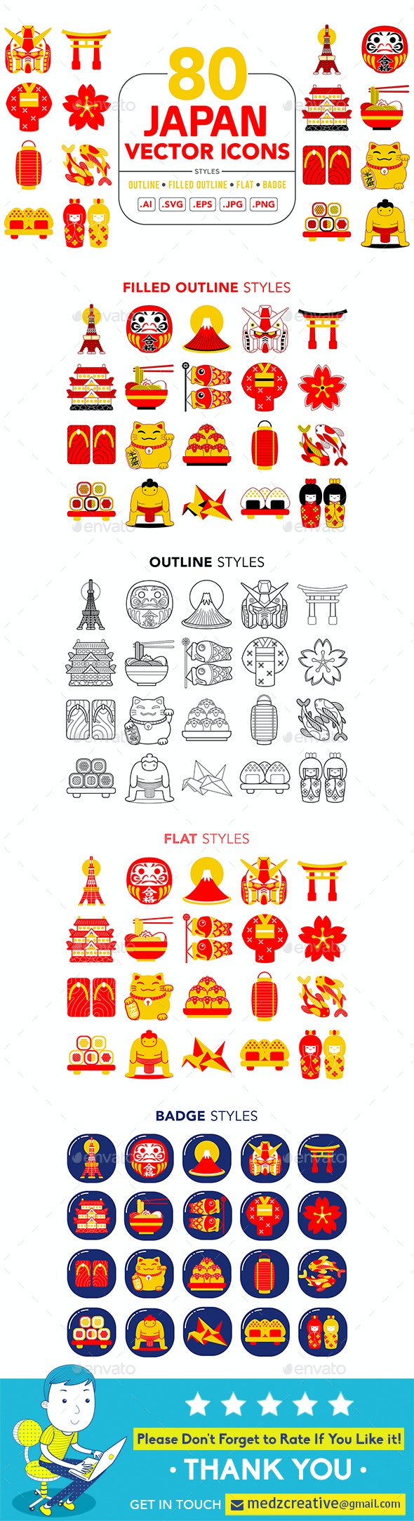 Japan Vector Icons - Objects Icons