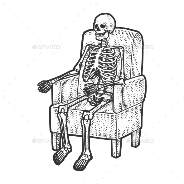 The Best Skeleton Sitting In Chair Cartoon Background