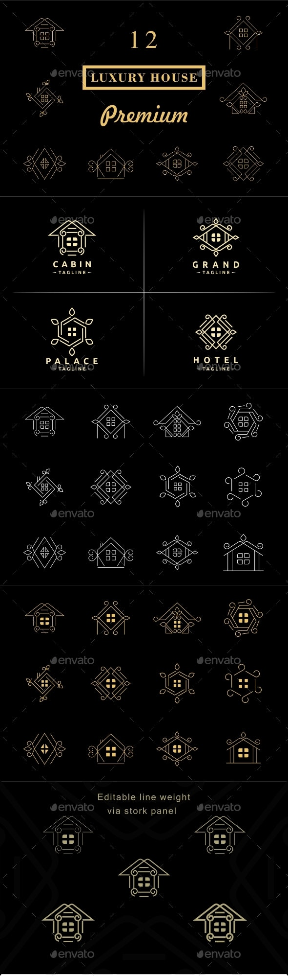 Luxury House Badges and Logos - Badges & Stickers Web Elements