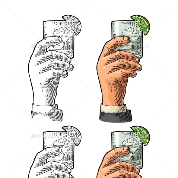 Male Hand Holding Glass Gin Vintage Vector