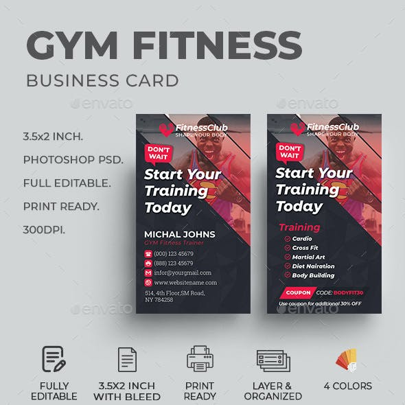GYM Fitness Business Card