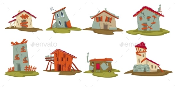 Old Houses or Barns in Rural Area Sheds Set - Buildings Objects