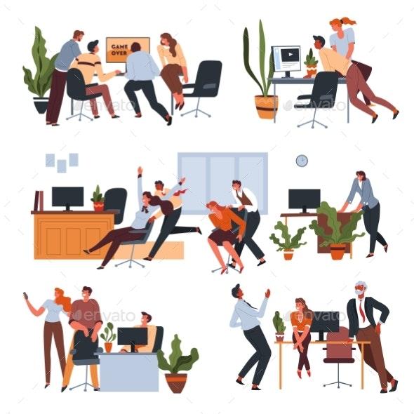 Workers Having Fun in Office at Breaks Set - People Characters