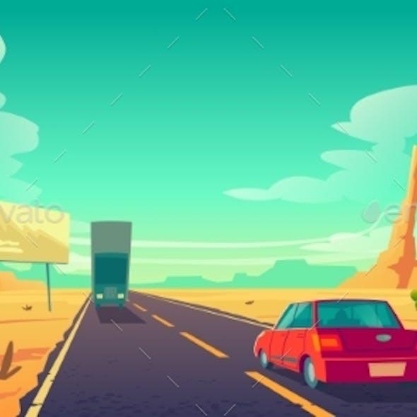 Road in Desert with Cars Ride Long Asphalt Highway