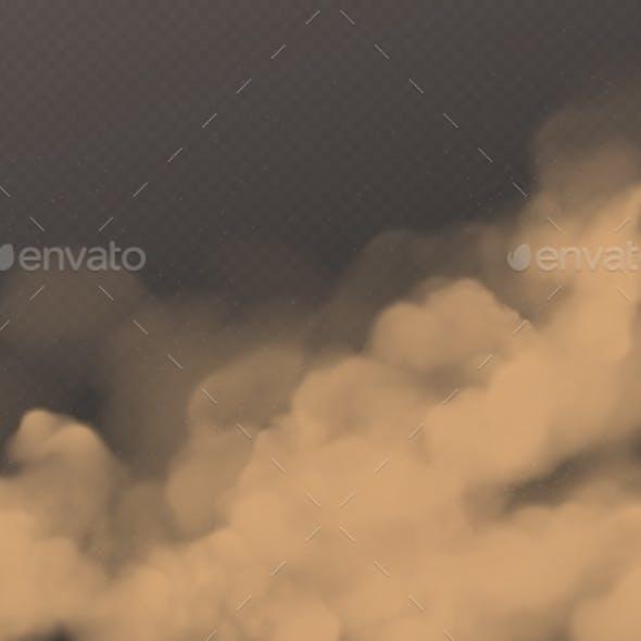Desert Sandstorm Brown Dusty Cloud on Transparent