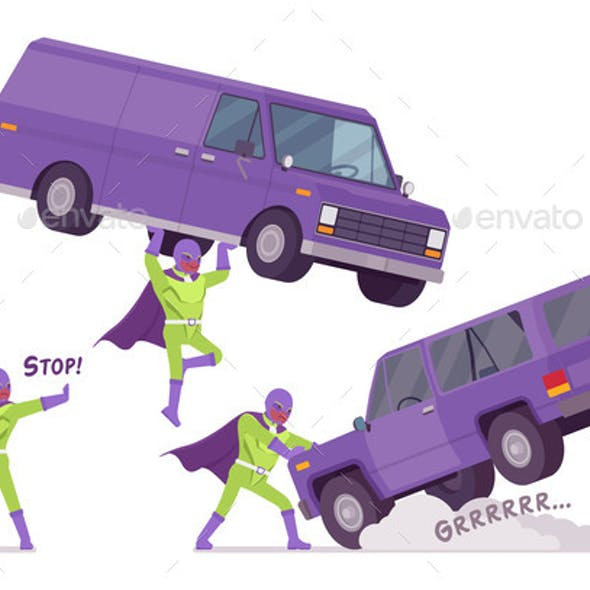 Male Super Hero Holding a Heavy Van
