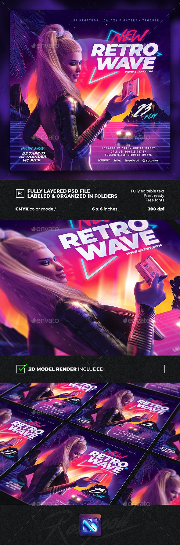 Party Flyer New Retrowave - Clubs & Parties Events