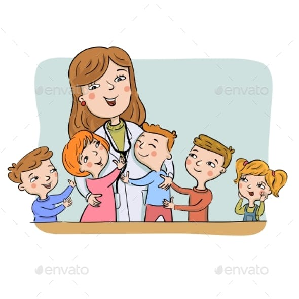 Paediatric Doctor with Children
