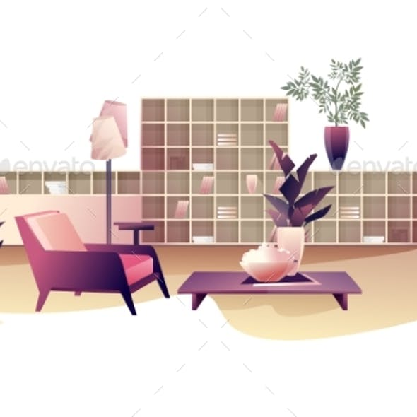 Interior Design Living Room Vector