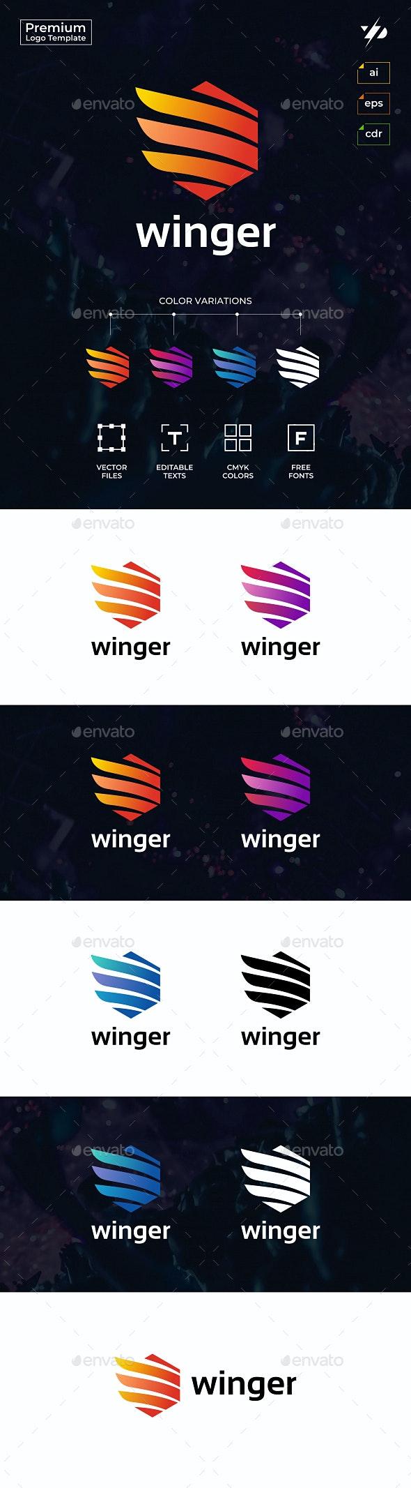 Hexagonal Wings - Abstract Logo Templates