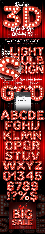 3D Lightbulb Sign Alphabet Kit - Text 3D Renders