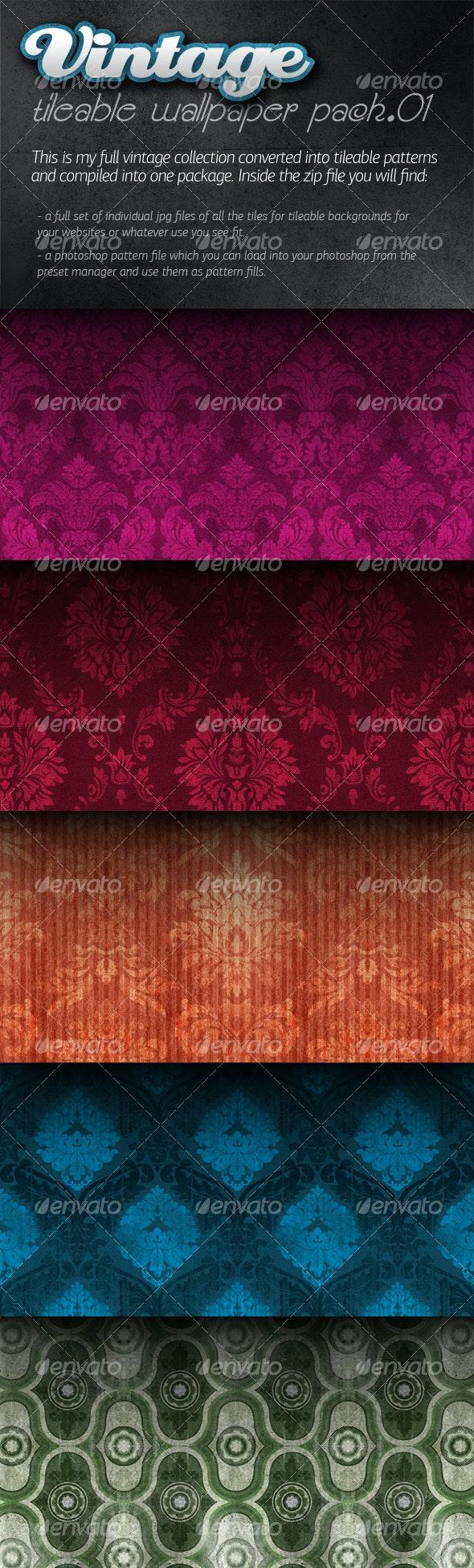 Vintage Tileable Wallpaper Pack 01 - Patterns Backgrounds