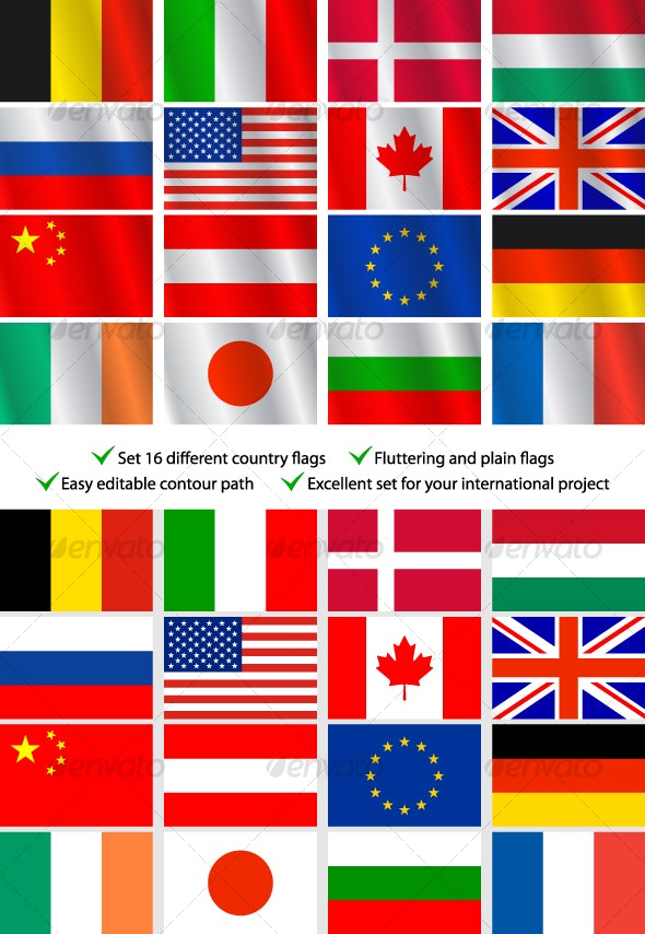 Set 16 different country flags - Travel Conceptual
