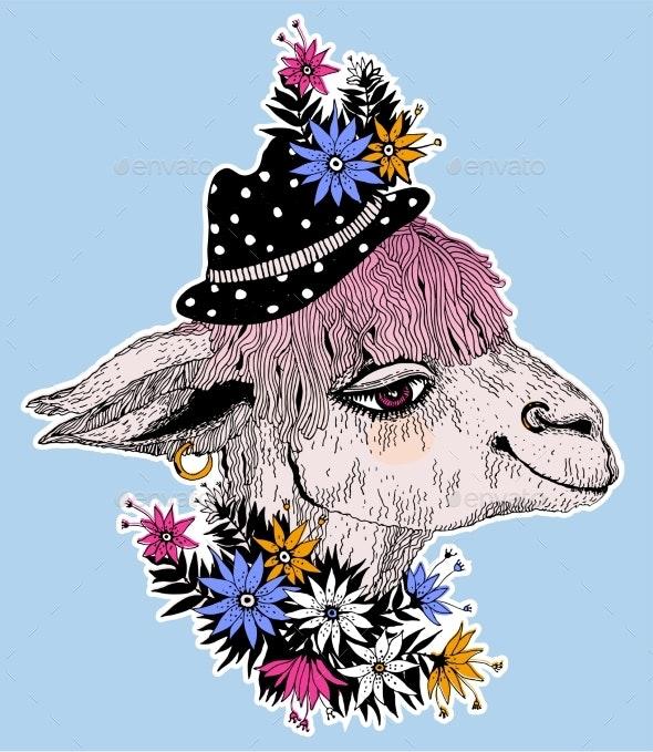 Hand Drawn Llama Alpaca Wearing a Hippie Hat - Animals Characters