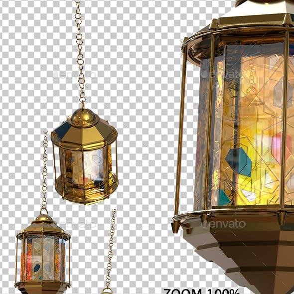 Golden Ramadan Lantern 3D Renders