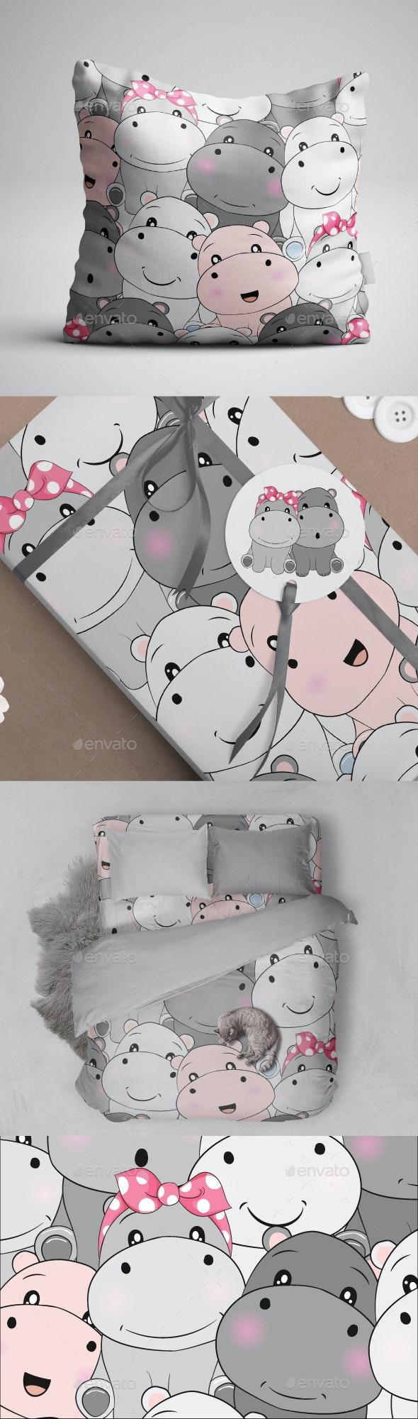 Seamless Pattern Hippo - Patterns Decorative
