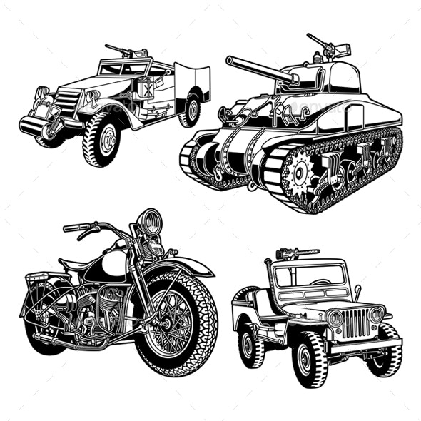 World War 2 Military Vehicles of The United States - Man-made Objects Objects