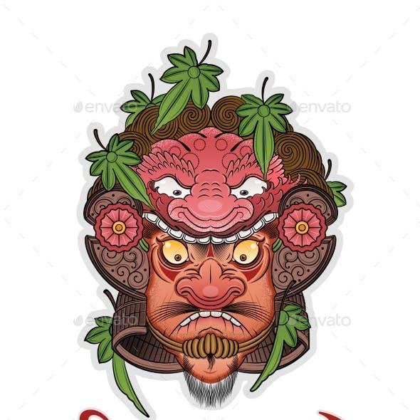 Tattoo of a Good Samurai in a Helmet