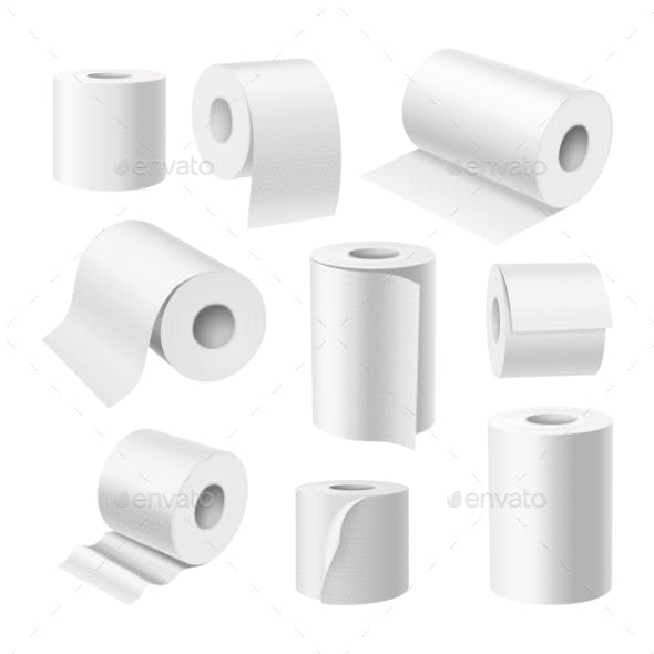 Realistic Toilet Paper Rolls and Kitchen Paper Towels