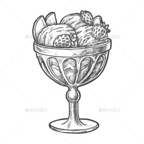Sketch Ice Cream Scoops in Glass Sundae Bowl