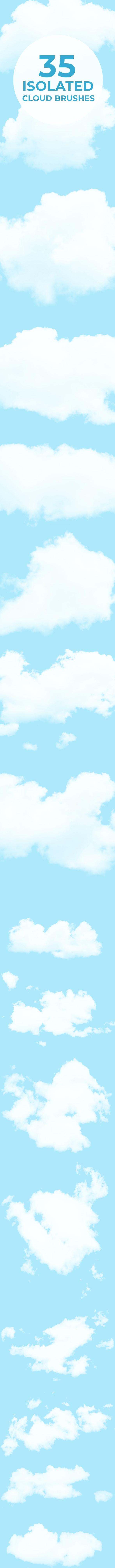 35 Isolated Cloud Brushes - Brushes Photoshop