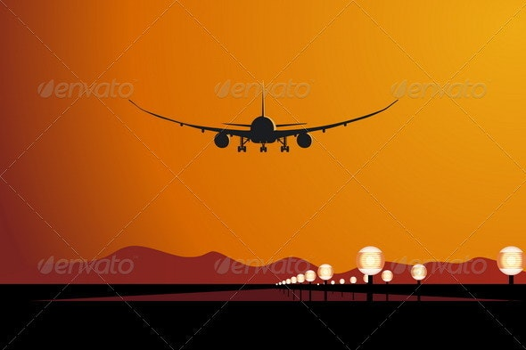 Airliner Landing at Sunset - Travel Conceptual