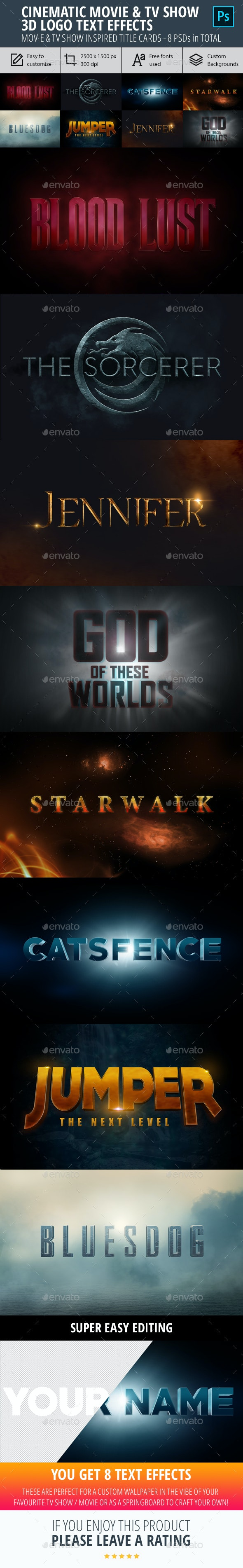 Cinematic Movie & TV Show Logo 3D Text Effect - Graphics