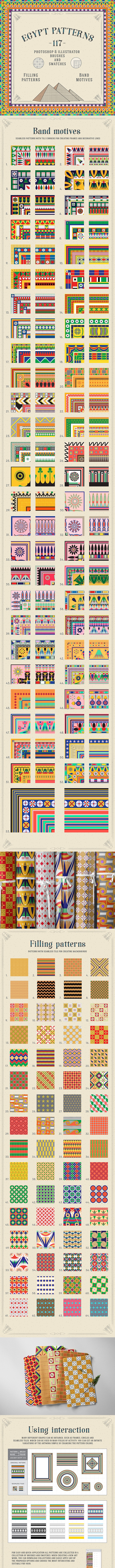 117 Egypt Patterns Brushes & Swatches - Brushes Illustrator