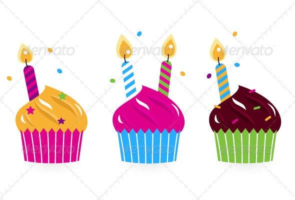 Birthday cakes collection isolated on white - Birthdays Seasons/Holidays